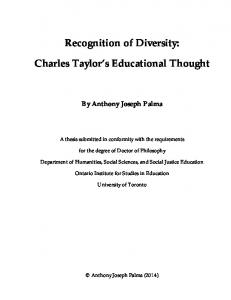 Recognition of Diversity: Charles Taylor s Educational Thought