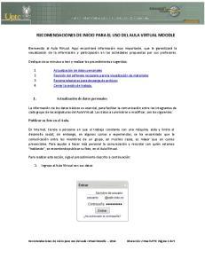 RECOMENDACIONES DE INICIO PARA EL USO DEL AULA VIRTUAL MOODLE
