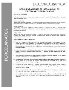 RECOMENDACIONES DE INSTALACIÓN DE PORCELANATO EN FACHADAS