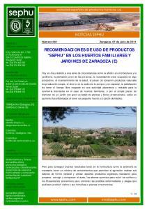 RECOMENDACIONES DE USO DE PRODUCTOS SEPHU EN LOS HUERTOS FAMILIARES Y JARDINES DE ZARAGOZA (E)