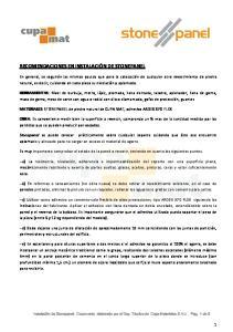 RECOMENDACIONES EN INSTALACIÓN DE STONEPANEL