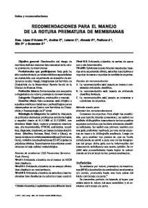 RECOMENDACIONES PARA EL MANEJO DE LA ROTURA PREMATURA DE MEMBRANAS