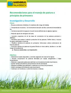 Recomendaciones para el manejo de pastura a principios de primavera