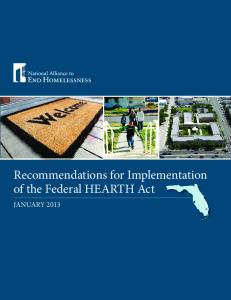 Recommendations for Implementation of the Federal HEARTH Act