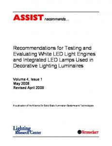 Recommendations for Testing and Evaluating White LED Light Engines and Integrated LED Lamps Used in Decorative Lighting Luminaires