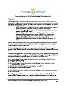 Recommendations from CPAC National Staging Advisory Committee
