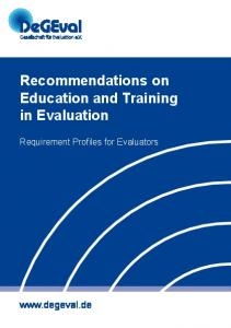 Recommendations on Education and Training in Evaluation