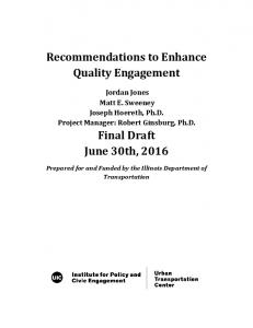Recommendations to Enhance Quality Engagement. Final Draft June 30th, 2016