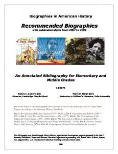 Recommended Biographies