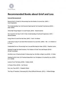 Recommended Books about Grief and Loss