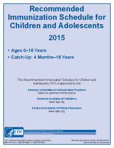Recommended Immunization Schedule for Children and Adolescents