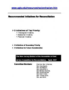 Recommended Initiatives for Reconciliation