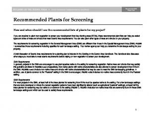 Recommended Plants for Screening