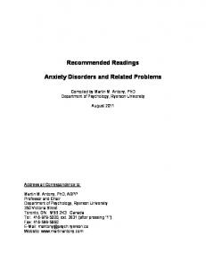 Recommended Readings. Anxiety Disorders and Related Problems