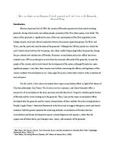 Reconciliation as Human Development in Post-Genocide Rwanda Hannah Hong