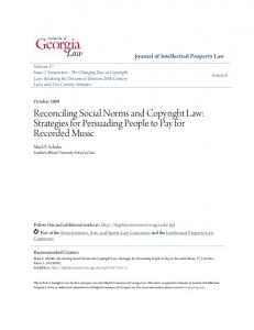 Reconciling Social Norms and Copyright Law: Strategies for Persuading People to Pay for Recorded Music