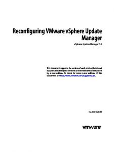 Reconfiguring VMware vsphere Update Manager