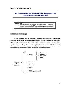 RECONOCIMIENTO DE MATERIALES Y EQUIPOS DE USO FRECUENTE EN EL LABORATORIO