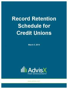 Record Retention Schedule for Credit Unions