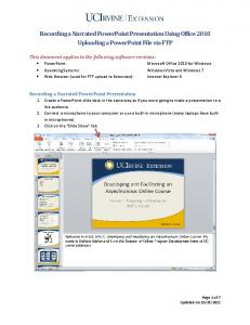 Recording a Narrated PowerPoint Presentation Using Office 2010 Uploading a PowerPoint File via FTP