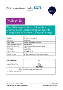 Records Management and Information Lifecycle Policy Incorporating the Records Management Information Lifecycle Strategy