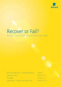 Recover or Fail? Business Continuity Planning for Technology Risks