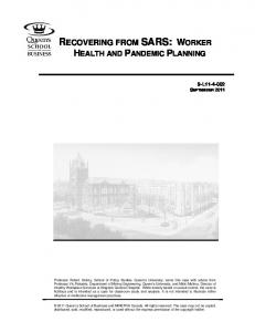 RECOVERING FROM SARS: WORKER HEALTH AND PANDEMIC PLANNING
