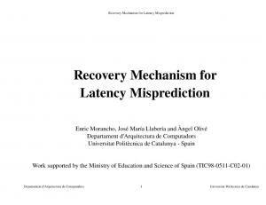 Recovery Mechanism for Latency Misprediction
