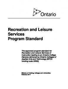 Recreation and Leisure Services Program Standard