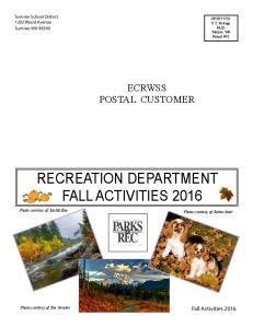 RECREATION DEPARTMENT FALL ACTIVITIES 2016