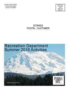 Recreation Department Summer 2016 Activities