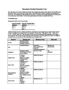 Recreation Facility Evaluation Tool