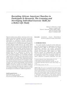 Recruiting African American Churches to Participate in Research: The Learning and Developing Individual Exercise Skills for a Better Life Study
