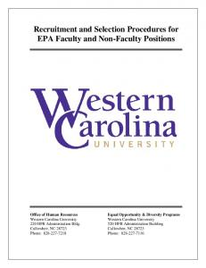 Recruitment and Selection Procedures for EPA Faculty and Non-Faculty Positions