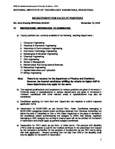 RECRUITMENT FOR FACULTY POSITIONS