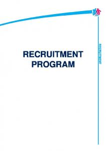 RECRUITMENT PROGRAM RECRUITMENT