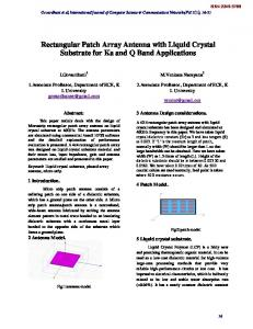Rectangular Patch Array Antenna with Liquid Crystal Substrate for Ka and Q Band Applications