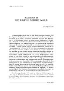 RECUERDOS DE DON DOMINGO FLETCHER VALLS (I)