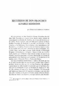 RECUERDOS DE DON FRANCISCO ALVAREZ SEISDEDOS