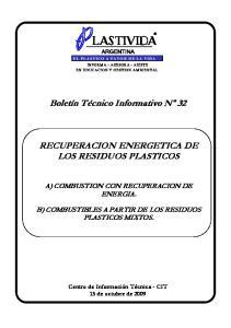 RECUPERACION ENERGETICA DE LOS RESIDUOS PLASTICOS