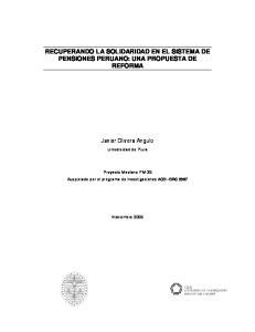 RECUPERANDO LA SOLIDARIDAD EN EL SISTEMA DE PENSIONES PERUANO: UNA PROPUESTA DE REFORMA