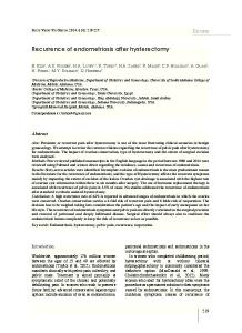 Recurrence of endometriosis after hysterectomy