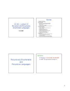 Recursively Enumerable and Recursive Languages