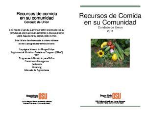 Recursos de Comida en su Comunidad Condado de Union 2011