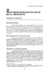 RECURSOS HUMANOS EN SALUD DE LA ARGENTINA