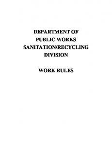 RECYCLING DIVISION WORK RULES