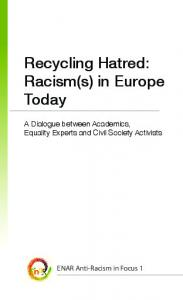 Recycling Hatred: Racism(s) in Europe Today