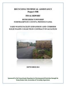 RECYCLING TECHNICAL ASSISTANCE Project #558 FINAL REPORT