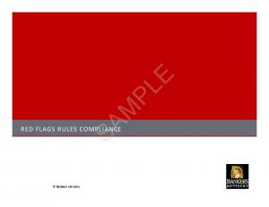 RED FLAGS RULES COMPLIANCE SAMPLE. Bankers Advisory