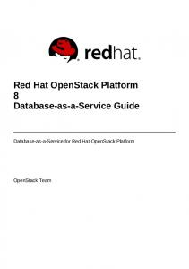 Red Hat OpenStack Platform 8 Database-as-a-Service Guide